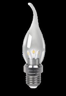 Светодиодная лампа gauss свеча на ветру прозрачная 3W
